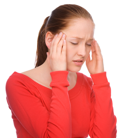 woman with holiday headache